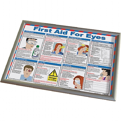 First Aid for Eyes Poster, Laminated with Frame