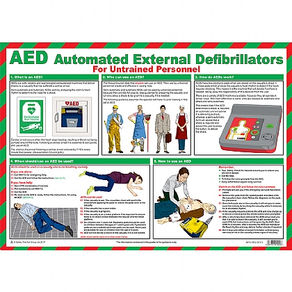AED For Untrained Personnel Poster, Laminated