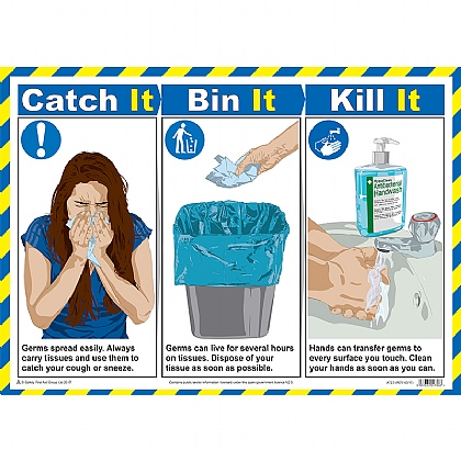 Catch It, Bin It, Kill It Poster, Laminated