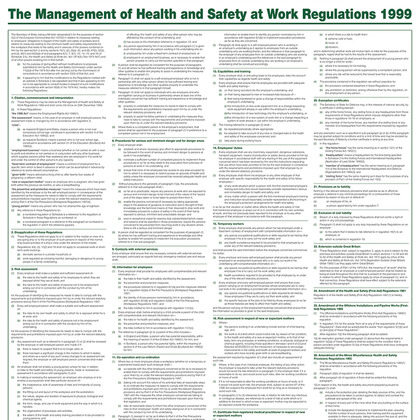 The Management of Health & Safety at Work Regulation Poster, A1