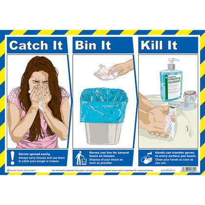 Catch It, Bin It Kill It A3 Poster, Laminated (42x30cm)