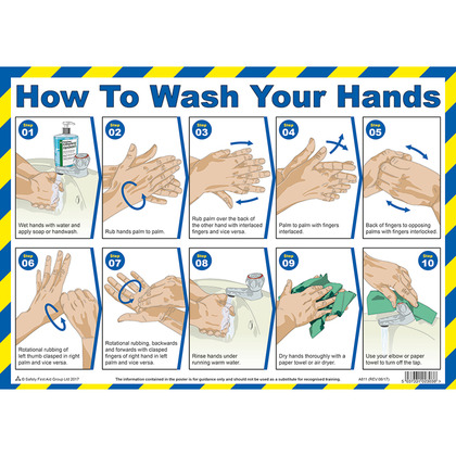 How To Wash Your Hands A3 Poster, Laminated (42x30cm)