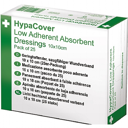 HypaCover Low Adherent Dressings - 10cm x 10cm, Pack of 25