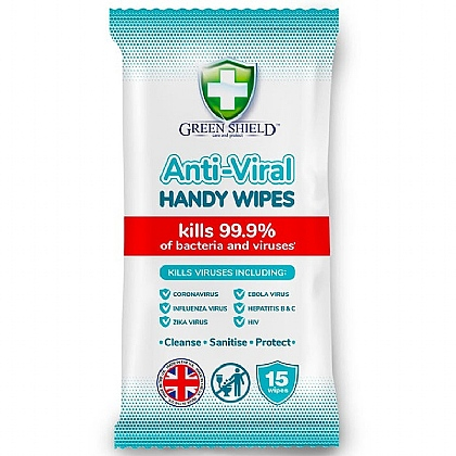 GREEN SHIELD Anti-Viral Alcohol Wipes for Hands Pack of 15