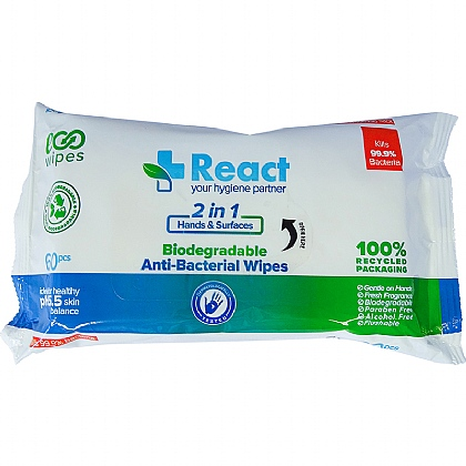 REACT Antibacterial Wipes PK60x24