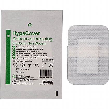 HypaCover Adhesive Dressing, Medium 8.6cm x 6cm, Pack of 10