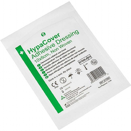 HypaCover Adhesive Dressing, Large 10cm x 8cm, Pack of 10