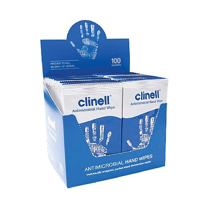Clinell Antibacterial Hand Wipes (individually wrapped) Box of 100