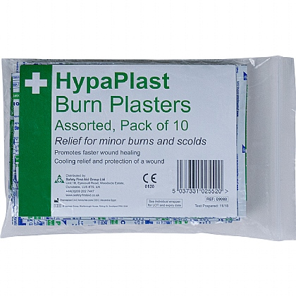 HypaPlast Burn Plasters, Pack of 10 (Assorted)