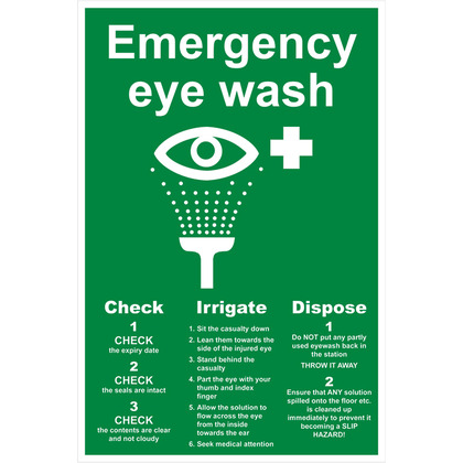Eye Wash Sign, 20x30cm, Rigid
