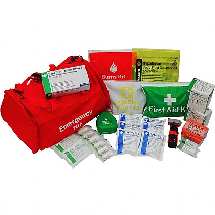 Trauma Kit in Red Emergency Bag