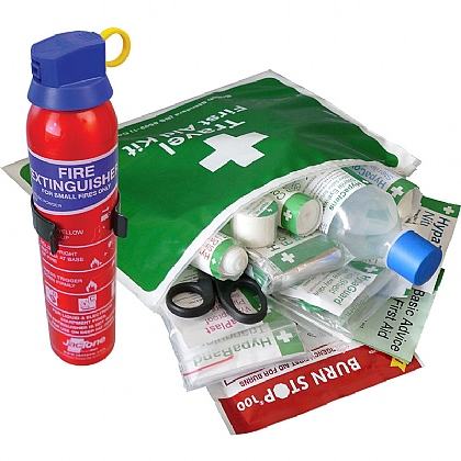 BS 8599 Compliant Travel First Aid Kit in Vinyl Wallet & Fire Extinguisher