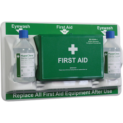 British Standard Compliant First Aid & Eye Wash Station