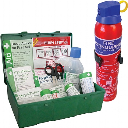 BS 8599 Compliant Travel First Aid Kit & Fire Extinguisher