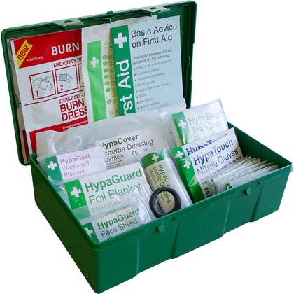 BS8599-2 Car and Taxi First Aid Kit in Square Green Case