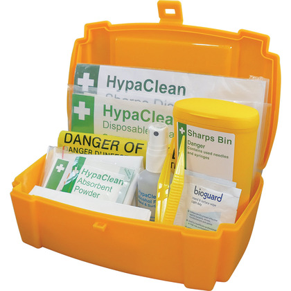 Single Sharps & Body Fluid Disposal Kit in Plastic Case