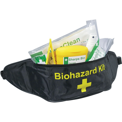 Single Sharps & Body Fluid Disposal Kit in Bum Bag