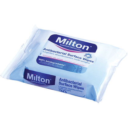 Milton Antibacterial Surface Wipes, (Pack of 30)