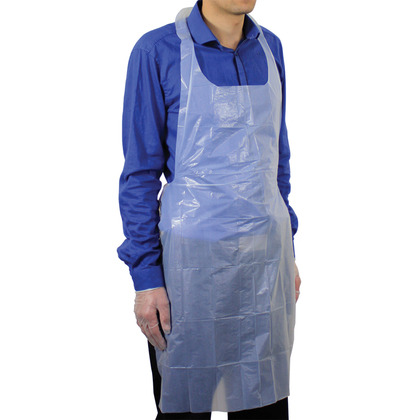 White Polythene Aprons (69cm x 107cm) - Pack of 100
