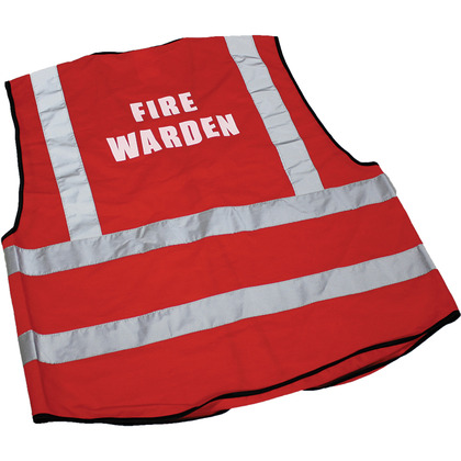 Fire Warden Hi-Visibility Waistcoats, Red, Large