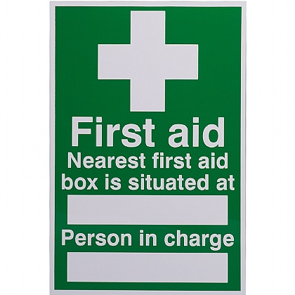 Nearest First Aid Kit Sign, 20x30cm, Rigid