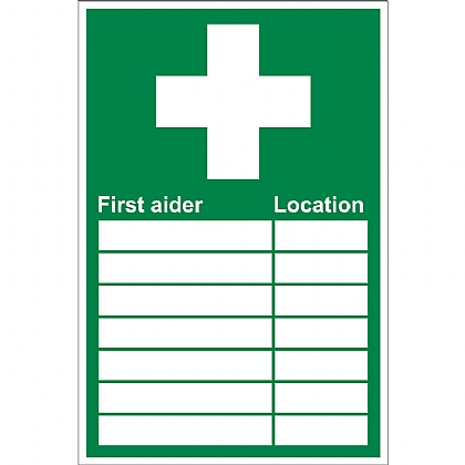 First Aider & Location Sign, 20x30cm, Rigid