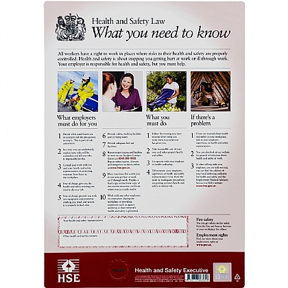 Health and Safety Law Poster - A3 format