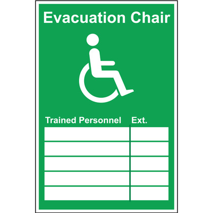 Evacuation Chair Trained Personnel & Extension Sign, Rigid, 200 mm x 300mm