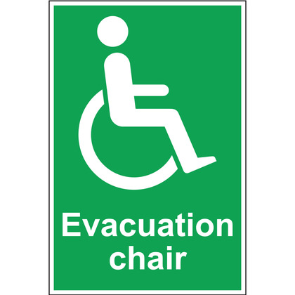 Evacuation Chair Sign, Rigid, 200 mm x 300mm
