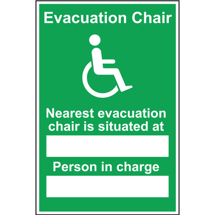 Nearest Evacuation Chair and Person in Charge Rigid Sign, 200 mm x 300mm