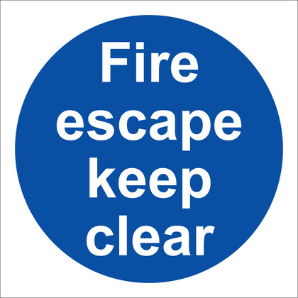 Fire Escape Keep Clear Sign, 10x10cm, Rigid