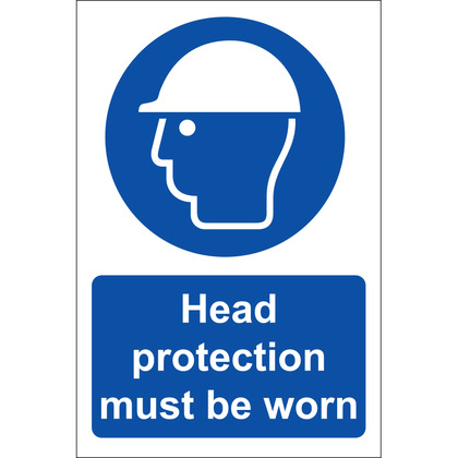 Safety Helmets Must Be Worn Sign, Rigid, 20x30cm