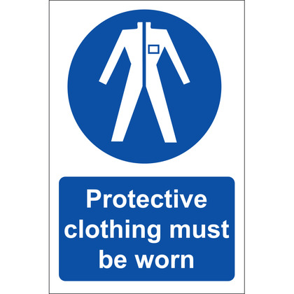 Protective Clothing Must Be Worn Sign, Rigid, 20x30cm