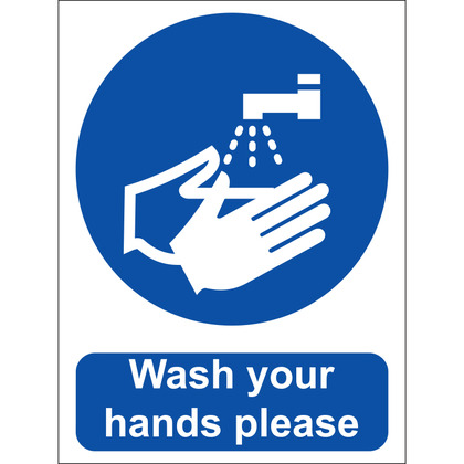 Wash Your Hands Please Sign, Vinyl 15x20cm