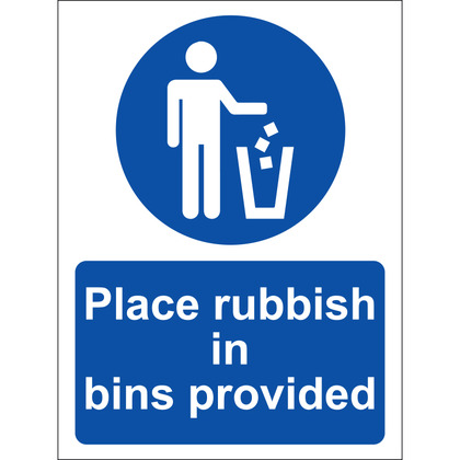 Place All Rubbish In Bins Provided Sign, Vinyl 15x20cm