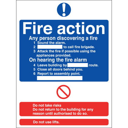 Fire Action Sign, 15x20cm, Vinyl