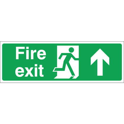 Fire Exit (UP) Sign, 30x10cm, Rigid