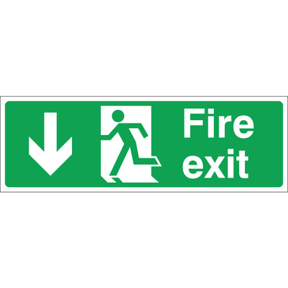 Fire Exit (DOWN) Sign, 30x10cm, Rigid