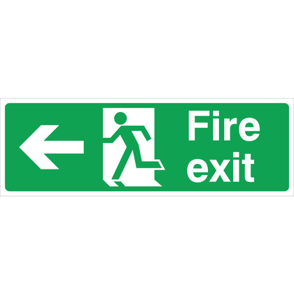 Fire Exit (L/H) Sign, 30x10cm, Rigid