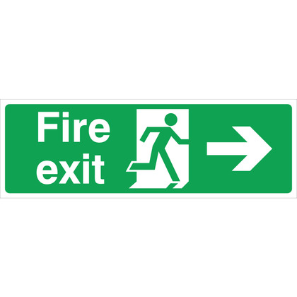 Fire Exit (R/H) Sign, 30x10cm, Rigid