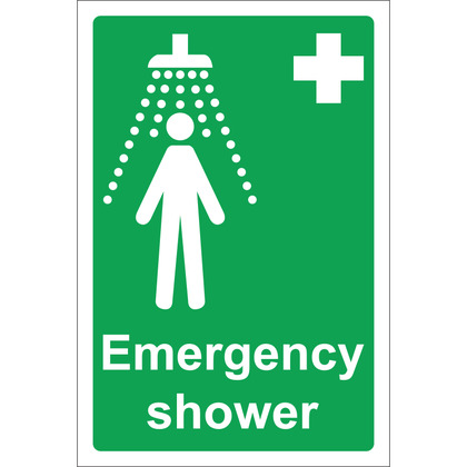 Emergency Shower Sign, Rigid 20x30cm