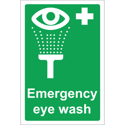 Emergency Eye Wash Sign, 20x30cm, Rigid