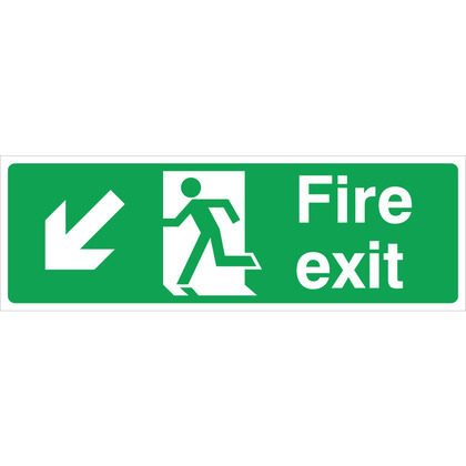 Fire Exit LEFT/DOWN Sign, 45x15cm, Rigid