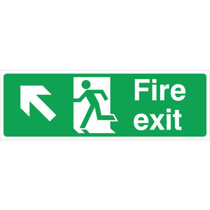 Fire Exit LEFT/UP Sign, 45x15cm, Vinyl