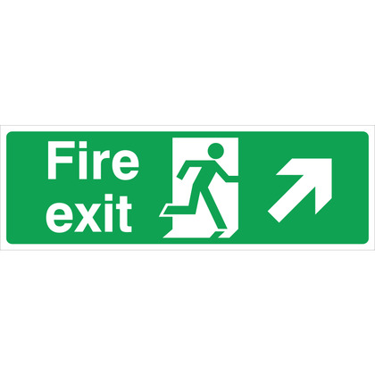 Fire Exit RIGHT/UP Sign, 45x15cm, Rigid