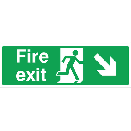 Fire Exit RIGHT/DOWN Sign, 45x15cm, Rigid