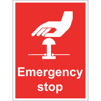 Emergency Stop Sign, Rigid 15x20cm