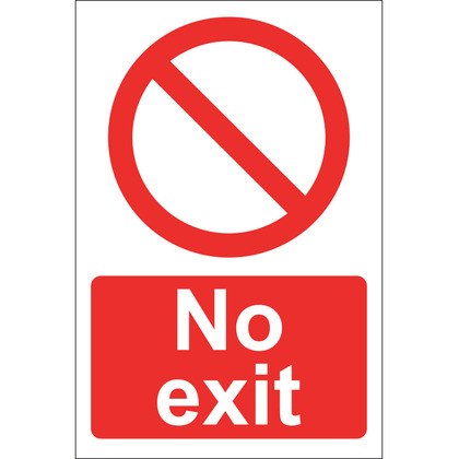 No Exit Sign, Rigid 20x30cm