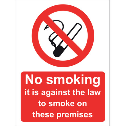 No Smoking It Is Against The Law To Smoke In These Premises Sign, 15x20cm, Rigid