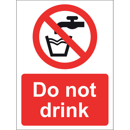 Do Not Drink Sign, Vinyl 15x20cm